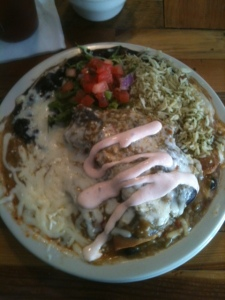 Blue corn enchiladas at Quine in Jerome, AZ.