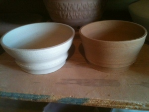 My first (unglazed) pots from ceramics class.